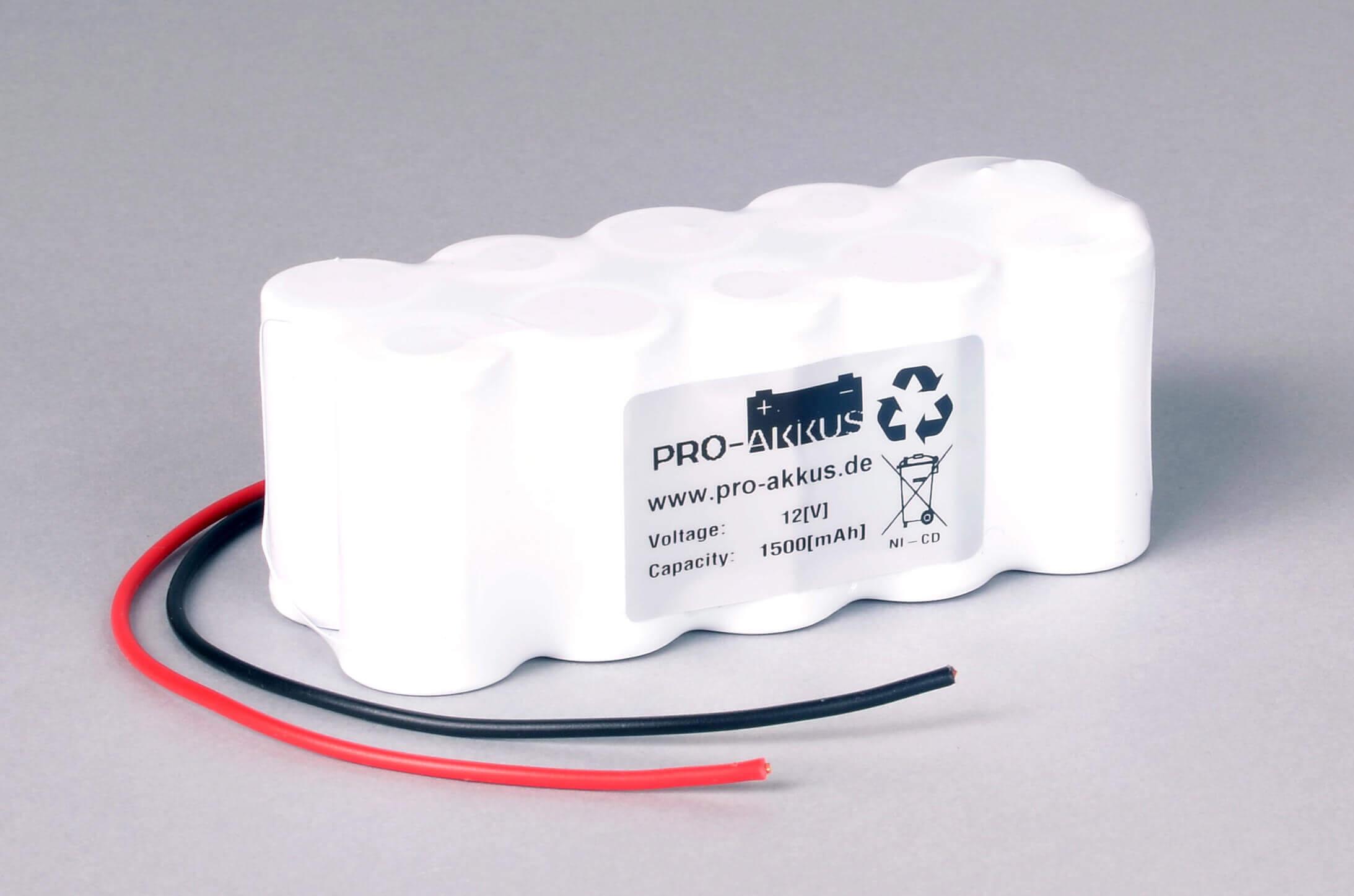 Ni-Cd Akkupack Notlicht Notbeleuchtung 12V / 1500mAh (1,5Ah) F5x2 Reihe mit Kabel