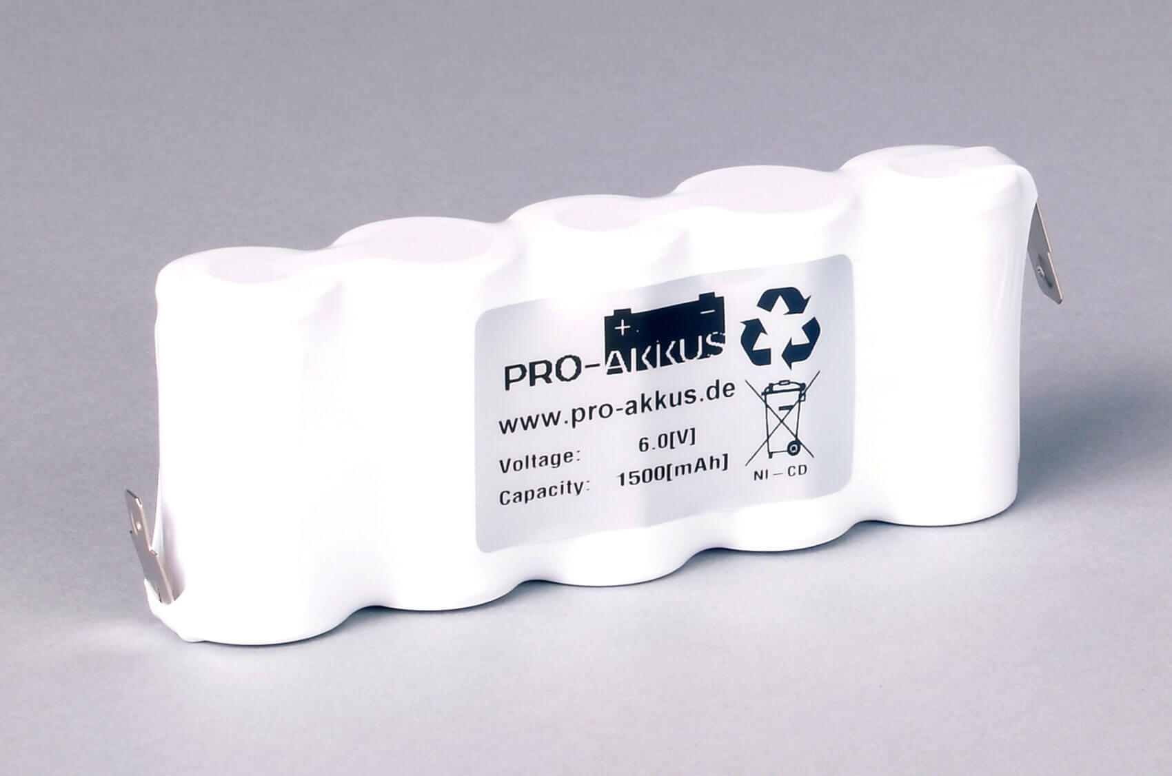 Ni-Cd Akkupack Notlicht Notbeleuchtung 6,0V / 1500mAh (1,5Ah) F5x1 Reihe, Faston Anschlüsse