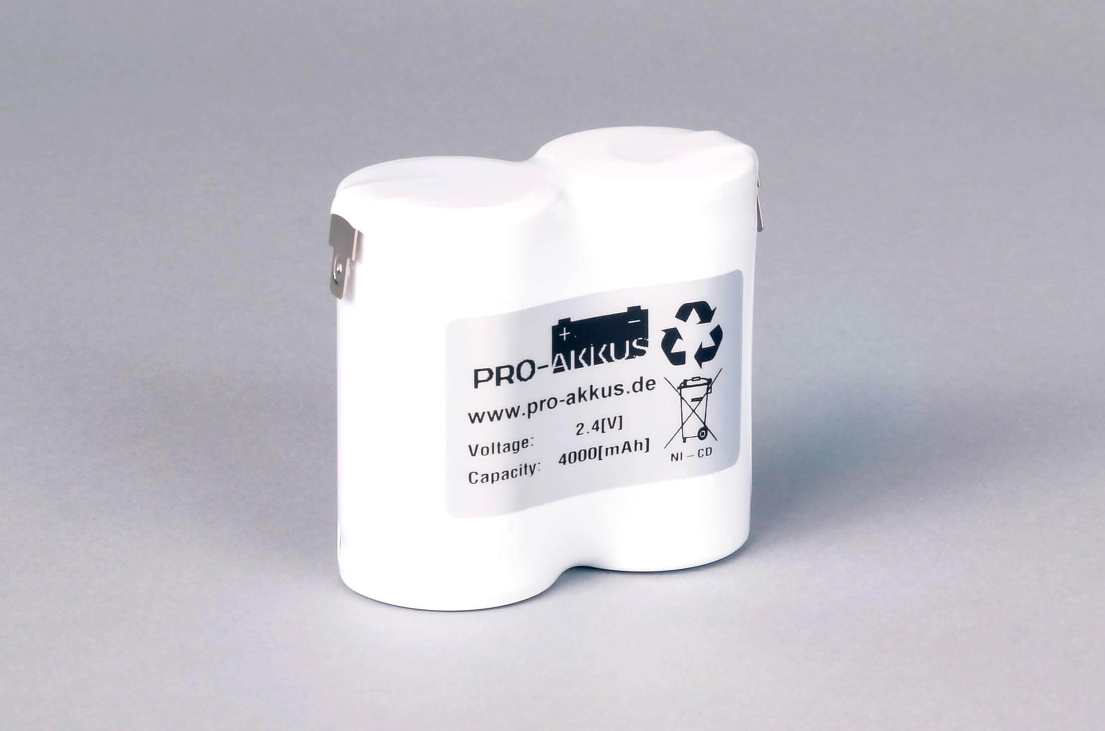 Ni-Cd Akkupack Notlicht Notbeleuchtung 2,4V / 4000mAh (4,0Ah) F2x1 Reihe, Faston Anschlüsse