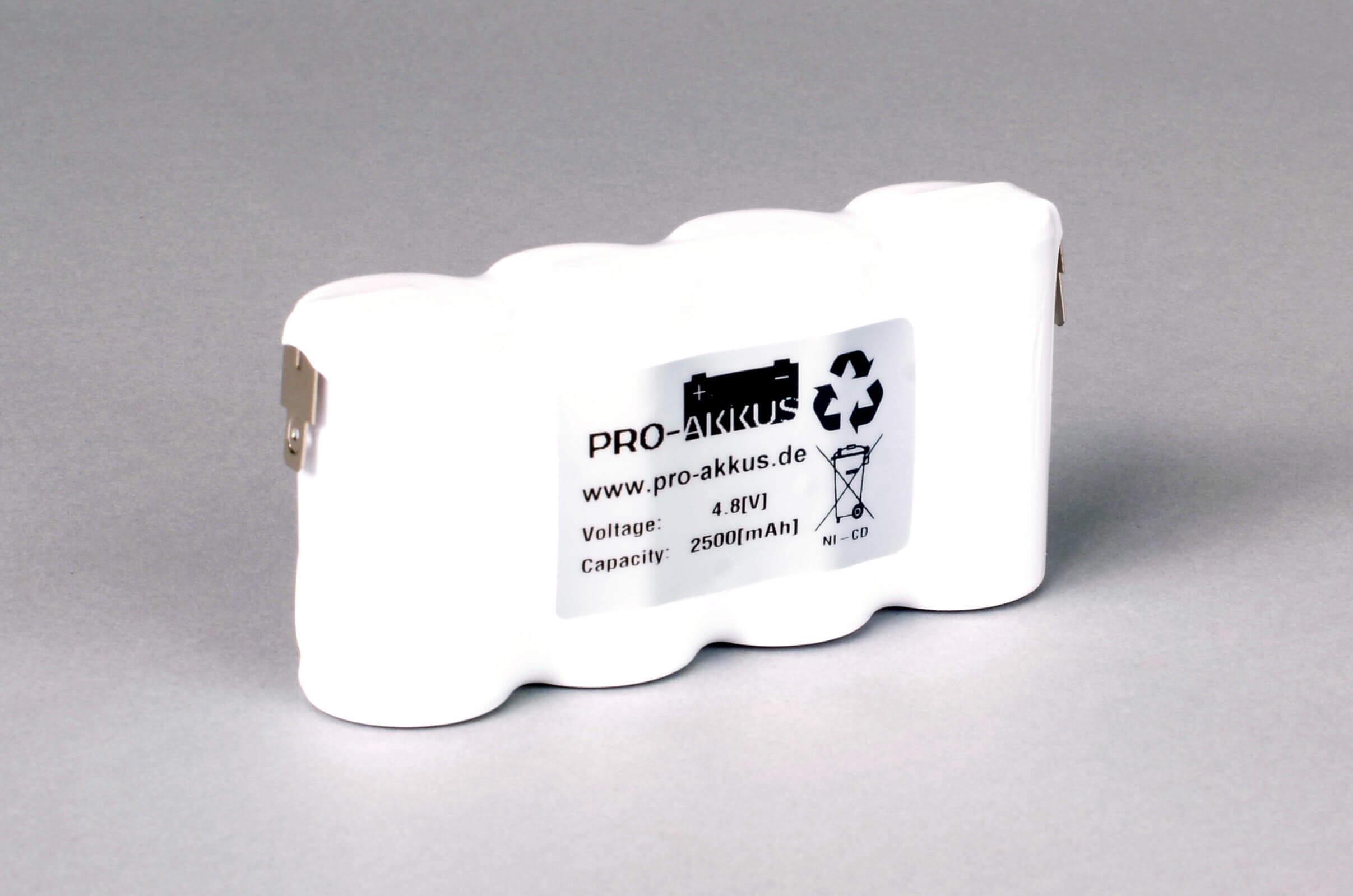Ni-Cd Akkupack Notlicht Notbeleuchtung 4,8V / 2500mAh (2,5Ah) F4x1 Reihe, Faston Anschlüsse