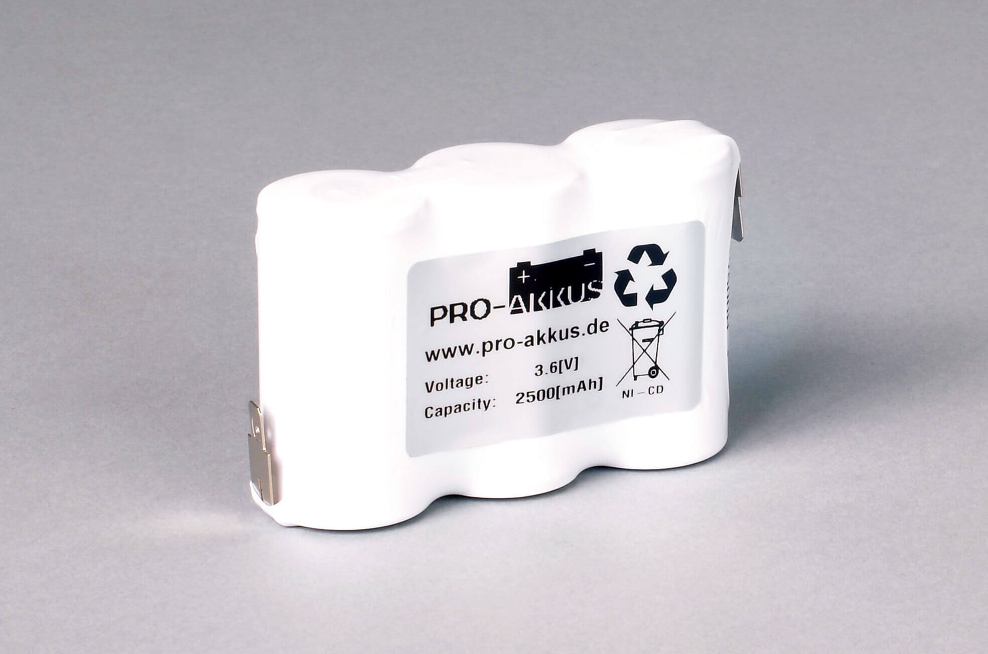 Ni-Cd Akkupack Notlicht Notbeleuchtung 3,6V / 2500mAh (2,5Ah) F3x1 Reihe, Faston Anschlüsse