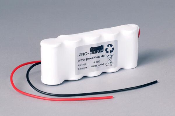 Ni-Cd Akkupack Notlicht Notbeleuchtung 6,0V / 1800mAh (1,8Ah) F5x1 Reihe mit Kabel