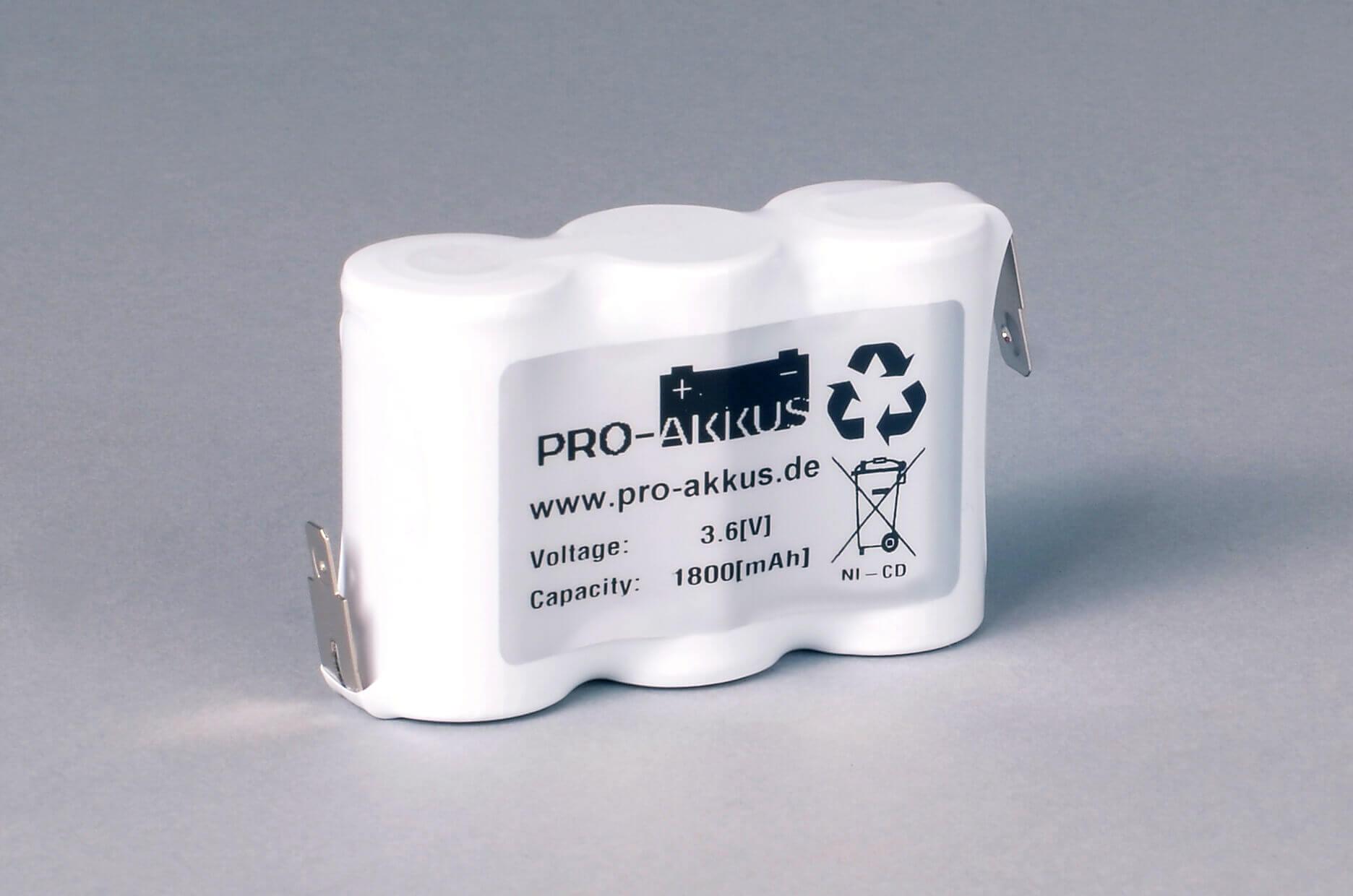 Ni-Cd Akkupack Notlicht Notbeleuchtung 3,6V / 1800mAh (1,8Ah) F3x1 Reihe, Faston Anschlüsse