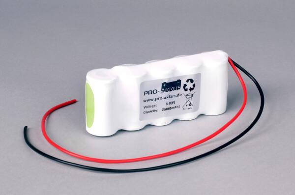Ni-Mh Akkupack Notlicht Notbeleuchtung 6,0V / 2500mAh (2,5Ah) F5x1 Reihe mit Kabel