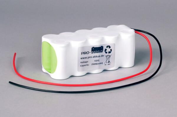 Ni-Mh Akkupack Notlicht Notbeleuchtung 12V / 2500mAh (2,5Ah) F5x2 Reihe mit Kabel