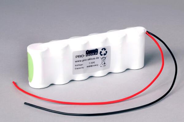Ni-Mh Akkupack Notlicht Notbeleuchtung 7,2V / 4000mAh (4,0Ah) C F6x1 Reihe mit Kabel
