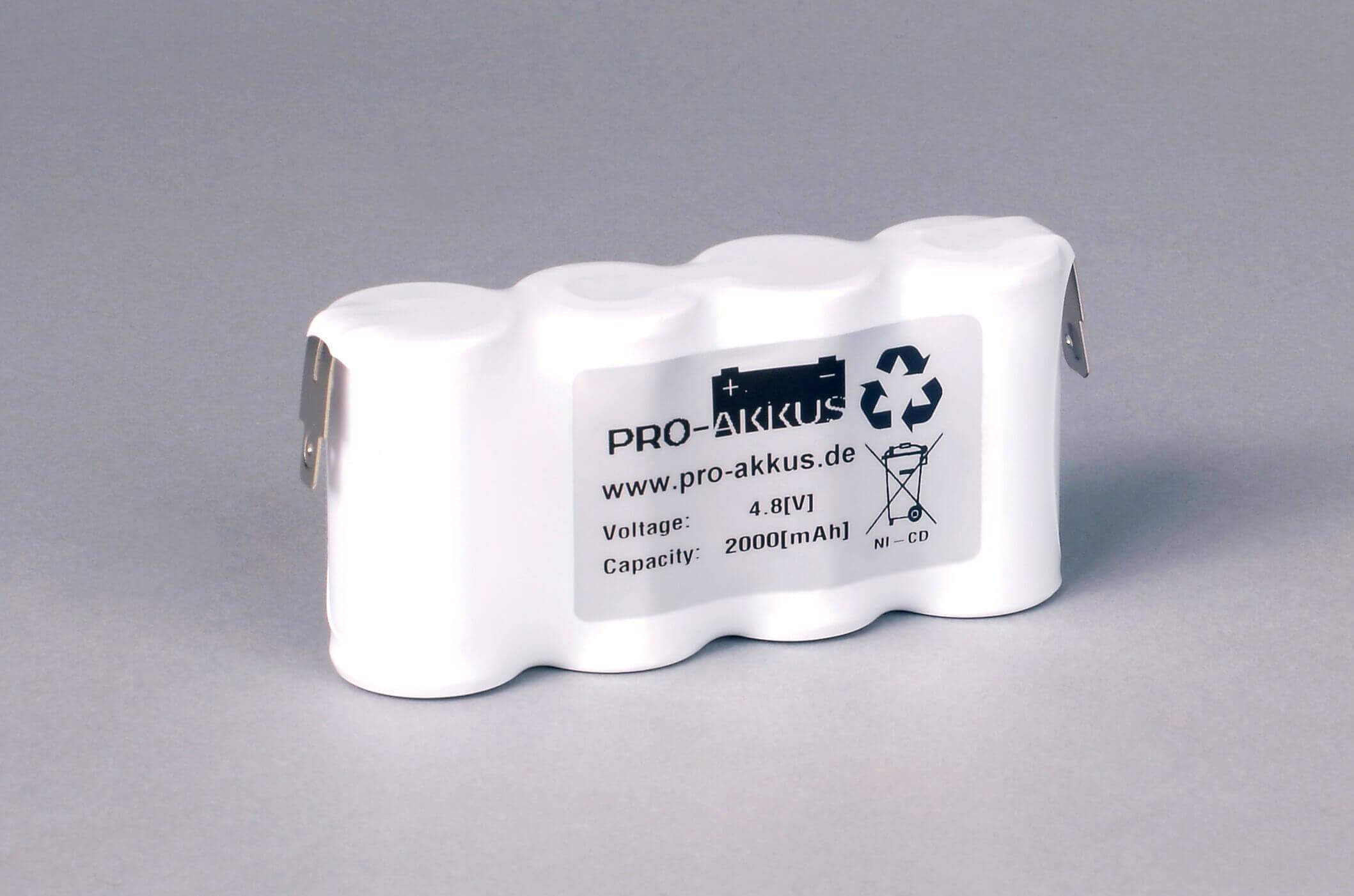 Ni-Cd Akkupack Notlicht Notbeleuchtung 4,8V / 2000mAh (2,0Ah) F4x1 Reihe, Faston Anschlüsse