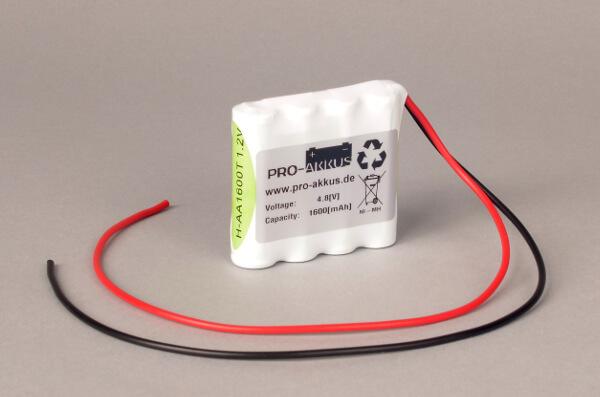 Ni-Mh Akkupack Notlicht Notbeleuchtung 4,8V / 1600mAh (1,6Ah) F4x1 Reihe mit Kabel