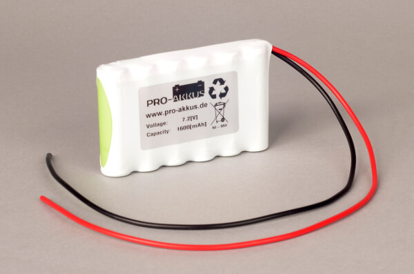 Ni-Mh Akkupack Notlicht Notbeleuchtung 7,2V / 1600mAh (1,6Ah) F6x1 Reihe mit Kabel