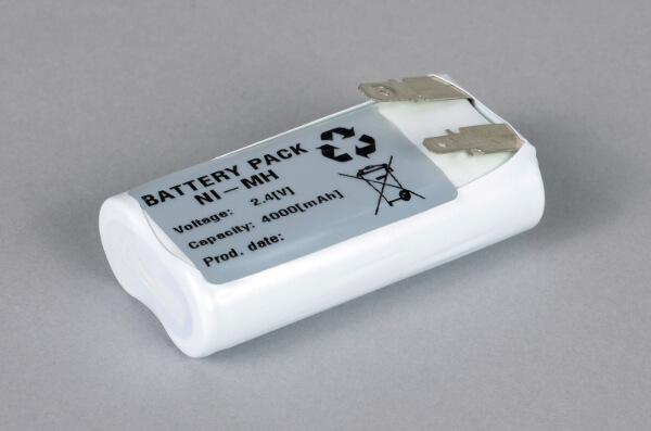 Ni-Mh Akkupack Notlicht Notbeleuchtung 2,4V / 4000mAh F2x1, Faston Anschlüsse