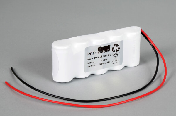 Ni-Cd Akkupack Notlicht Notbeleuchtung 6,0V / 1700mAh (1,7Ah) F5x1 Reihe mit Kabel