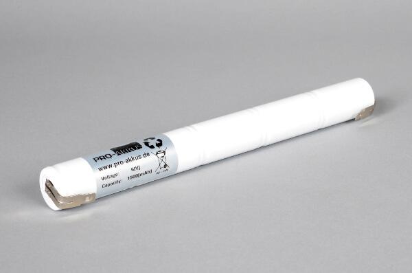 Ni-Cd Akkupack Notlicht Notbeleuchtung 6,0V / 1500mAh (1,5Ah) L5x1 Stab, Faston Anschlüsse