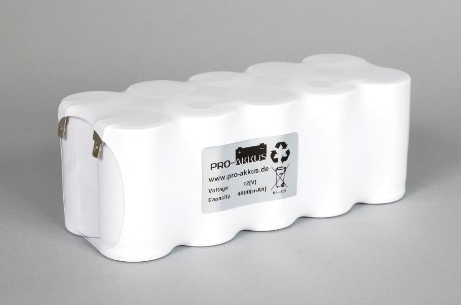 Ni-Cd Akkupack Notlicht Notbeleuchtung 12V / 4000mAh (4Ah) F5x2 Reihe mit Faston Anschlüssen