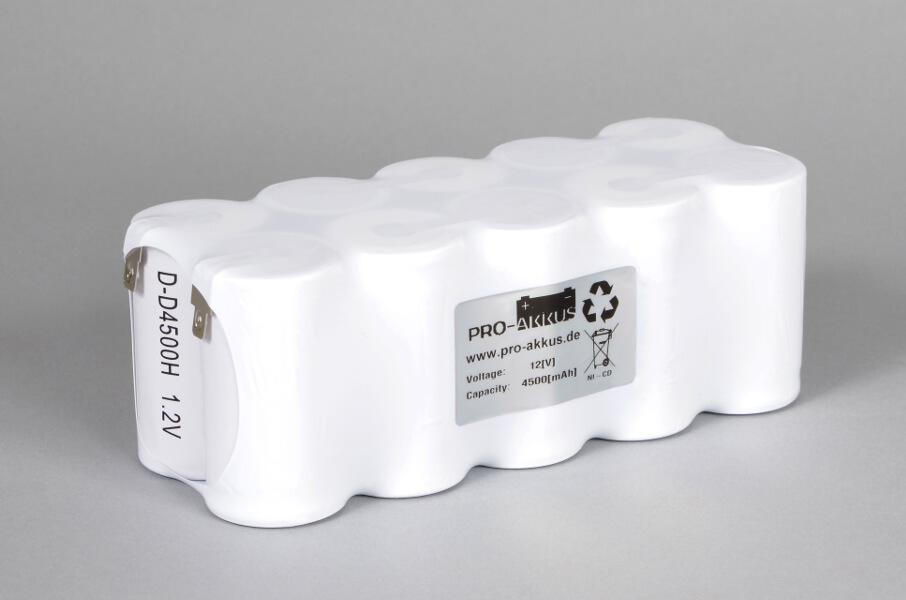 Ni-Cd Akkupack Notlicht Notbeleuchtung 12V / 4500mAh (4,5Ah) F5x2 Reihe, Faston Anschlüsse