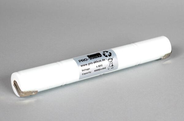 Ni-Mh Akkupack Notlicht Notbeleuchtung 4,8V / 4000mAh (4,0Ah) C L4x1 Stab, Faston Anschlüsse