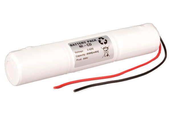 Akkupack 3,6V / 4500mAh 4,5Ah für RZB 67000.0.63 Zimmermann Notleuchte L3x1 Stab mit Kabel