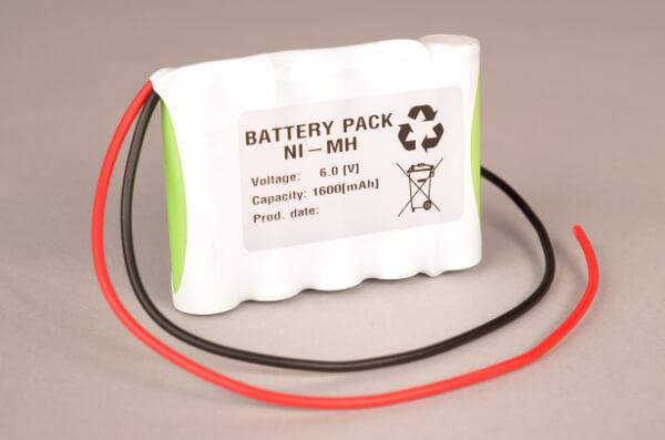 Ni-Mh Akkupack Notlicht Notbeleuchtung 6,0V / 1600mAh (1,6Ah) AA 5er Reihe mit Kabel