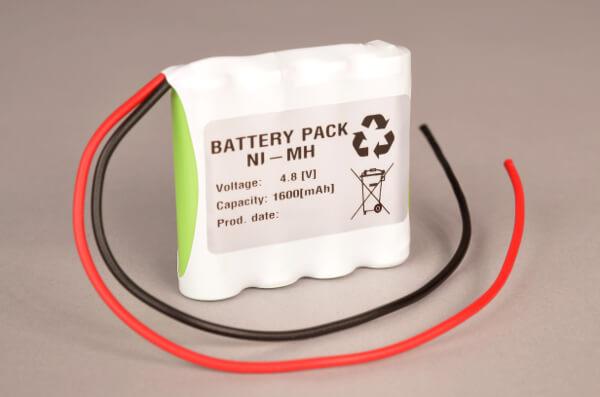 Ni-Mh Akkupack Notlicht Notbeleuchtung 4,8V / 1600mAh (1,6Ah) AA 4er Reihe mit Kabel