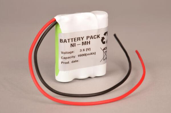 Ni-Mh Akkupack Notlicht Notbeleuchtung 3,6V / 1600mAh (1,6Ah) AA 3er Reihe mit Kabel