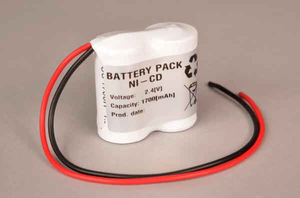 Akkupack Notlicht Notbeleuchtung 2,4V / 1700mAh (1,7Ah) Reihe mit Kabel