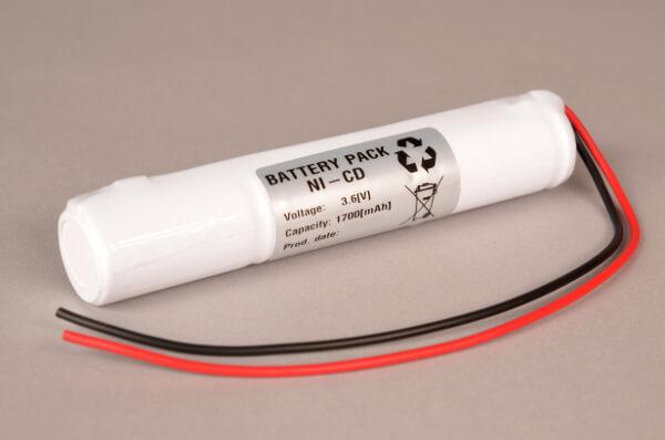 Akkupack Notlicht Notbeleuchtung 3,6V / 1700mAh (1,7Ah) SC Stabform mit Kabel