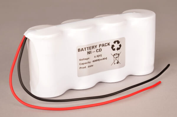 Akkupack Notlicht Notbeleuchtung 4,8V / 4000mAh (4,0Ah) 4er Reihe, Kabel mit offenem Ende