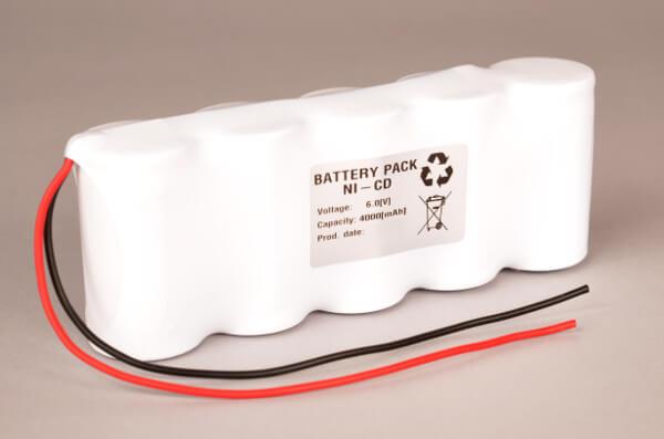 Akkupack Notlicht Notbeleuchtung 6,0V / 4000mAh (4,0Ah) in Reihe, Kabel mit offenem Ende