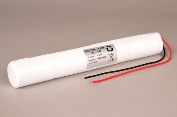 Akkupack Notlicht Notbeleuchtung 4,8V / 4000mAh (4,0Ah) Stabform, Kabel mit offenem Ende