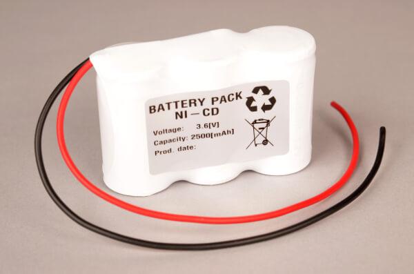 Akkupack Notlicht Notbeleuchtung 3,6V / 2500mAh (2,5Ah) Reihe mit Kabel