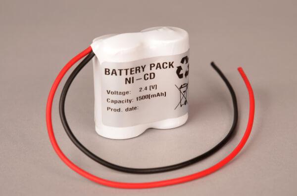 Akkupack Notlicht Notbeleuchtung 2,4V / 1500mAh (1,5Ah) Reihe mit Kabel