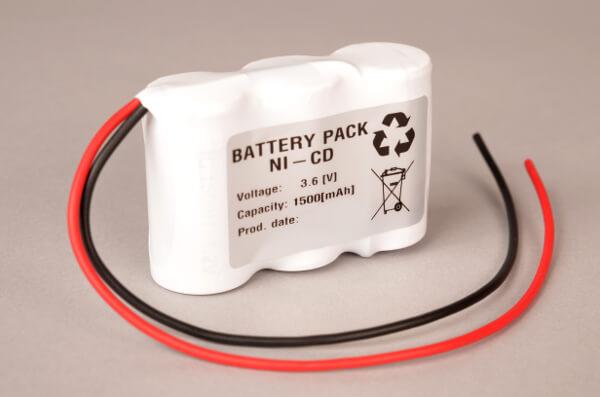 Akkupack Notlicht Notbeleuchtung 3,6V / 1500mAh (1,5Ah) Reihe, Kabel mit offenem Ende
