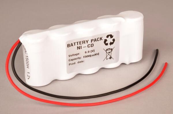 Akkupack Notlicht Notbeleuchtung 6,0V / 1500mAh (1,5Ah) 5er Reihe mit Kabel