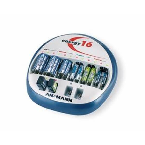 Ansmann Ladegerät Energy 16 für NiMH / NiCd Mignon AA, Micro AAA, Baby C, Mono D, 9V E-Block Akkus