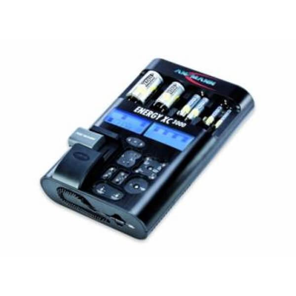 Ansmann Ladegerät Energy XC für NiMH / NiCd / Lithium Mignon AA, Micro AAA, Baby C, Mono D, 9V E-Block Akkus