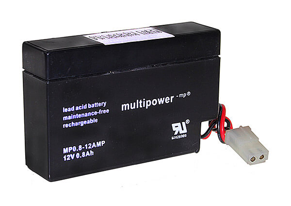 Multipower MP0,8-12 12V 0,8Ah Blei-Akku / AGM Batterie mit AMP-Stecker