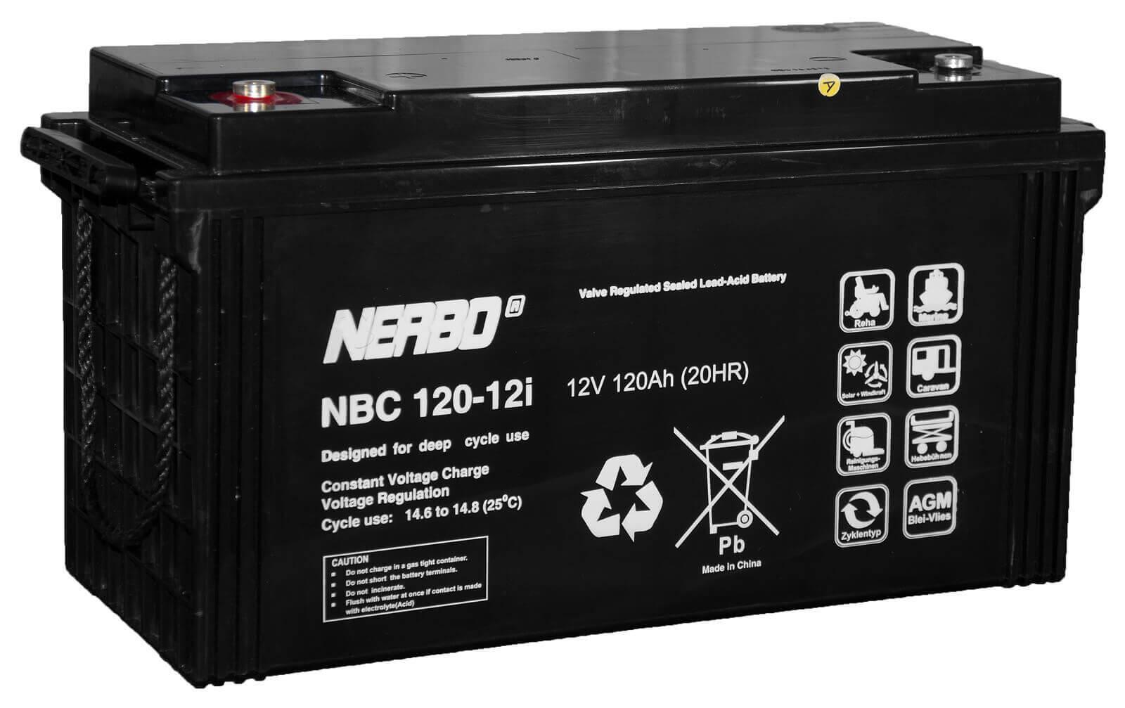 Nerbo NBC 120-12i - 12V 120Ah VRLA-AGM Akku Batterie Zyklentyp
