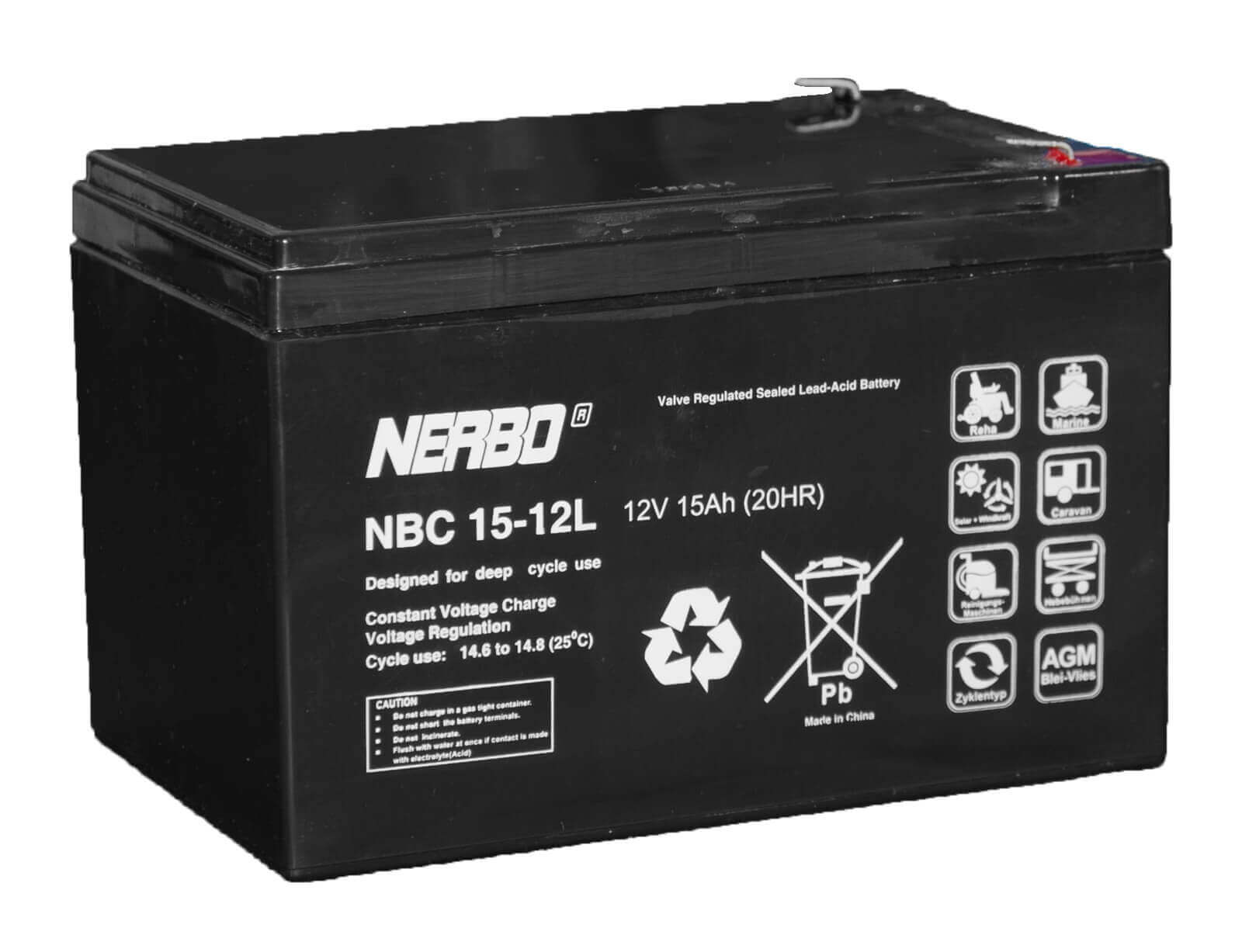 Nerbo NBC 15-12L - 12V 15Ah VRLA-AGM Akku Batterie Zyklentyp