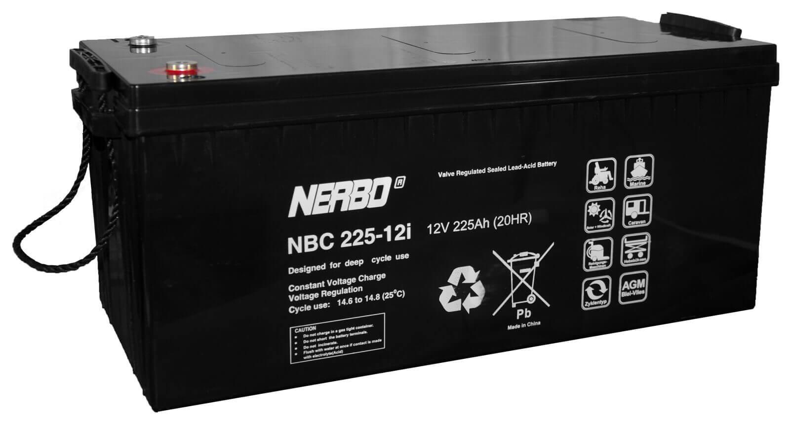 Nerbo NBC 225-12i - 12V 225Ah VRLA-AGM Akku Batterie Zyklentyp