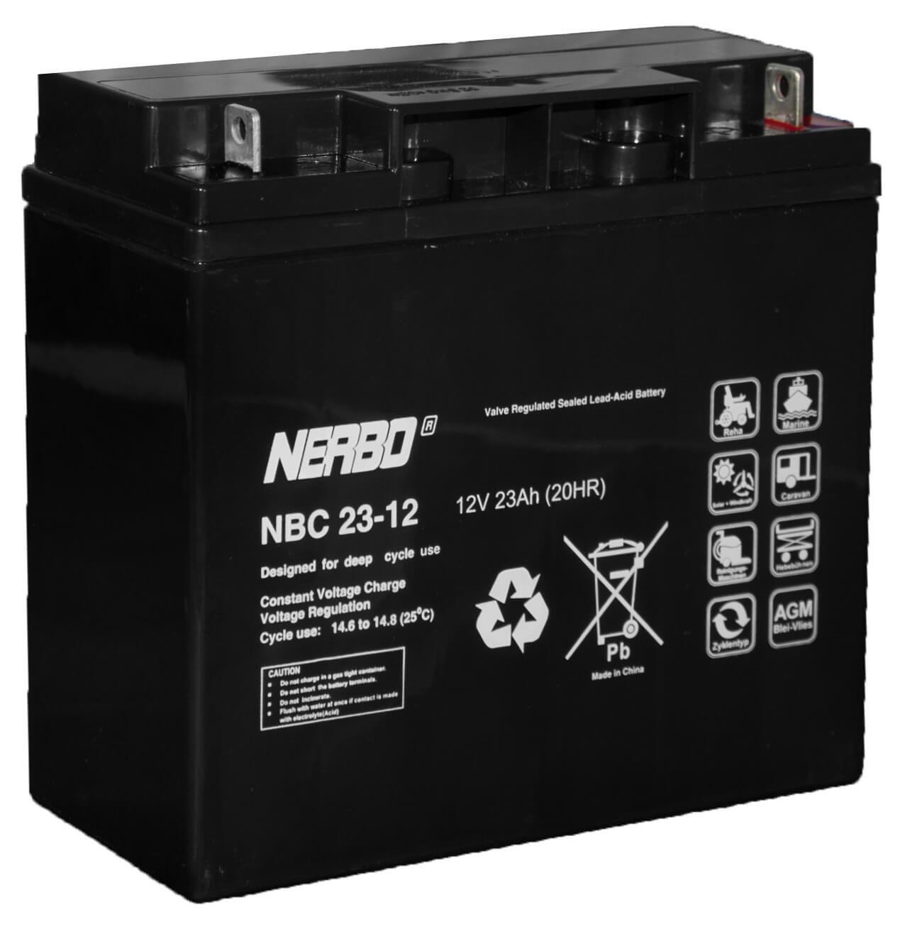 Nerbo NBC 23-12 - 12V 23Ah VRLA-AGM Akku Batterie Zyklentyp