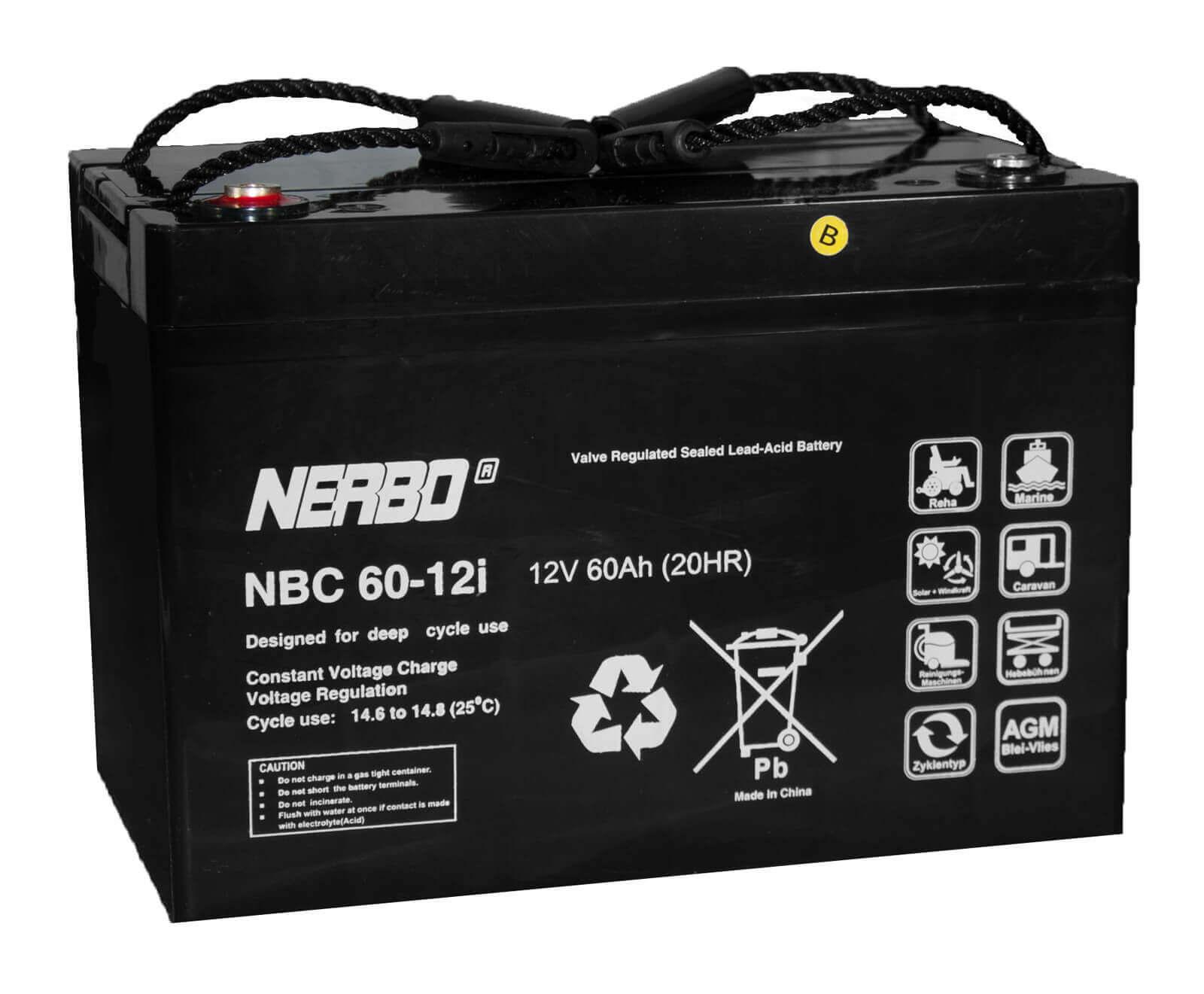 Nerbo NBC 60-12i - 12V 60Ah VRLA-AGM Akku Batterie Zyklentyp