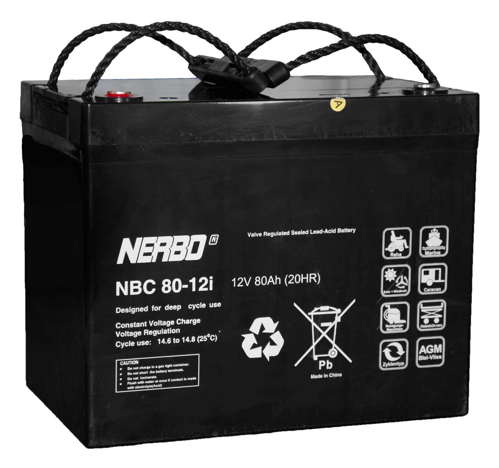 Nerbo NBC 80-12i - 12V 80Ah VRLA-AGM Akku Batterie Zyklentyp