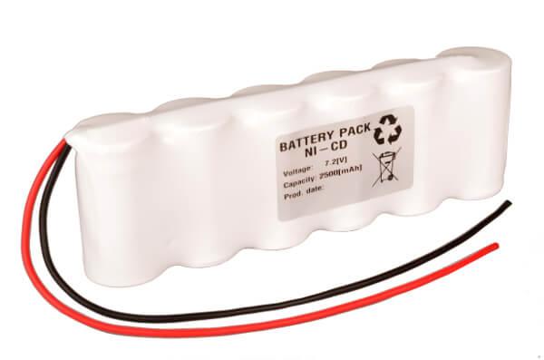Akkupack Notlicht Notbeleuchtung 7,2V / 2500mAh (2,5Ah) Reihe mit Kabel