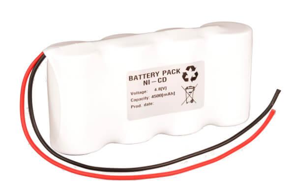 Akkupack Notlicht Notbeleuchtung 4,8V / 4500mAh (4,5Ah) 4er Reihe mit Kabel