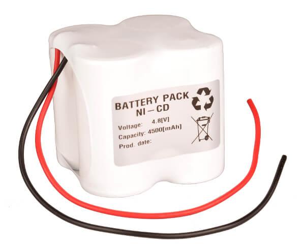 Akkupack Notlicht Notbeleuchtung 4,8V / 4500mAh (4,5Ah) 2x 2er Reihe mit Kabel