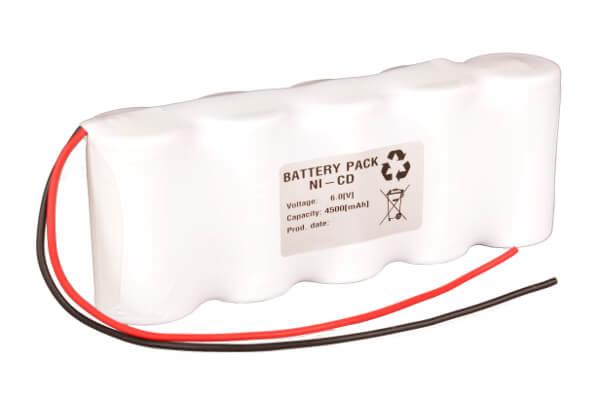 Akkupack Notlicht Notbeleuchtung 6,0V / 4500mAh (4,5Ah) 5er Reihe mit Kabel