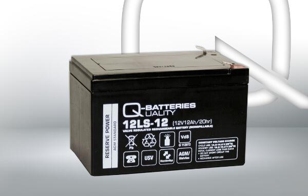 Q-Batteries 12LS-12 12V 12Ah AGM Batterie Akku VdS F2 6,35mm