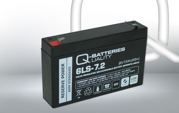 Q-Batteries 6LS-7.2 6V 7,2Ah AGM Batterie Akku