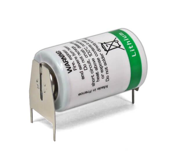 Saft Lithium Batterie LS14250 | 3PF RP + Pol Einzelspieß / - Pol Doppelspieß RM10