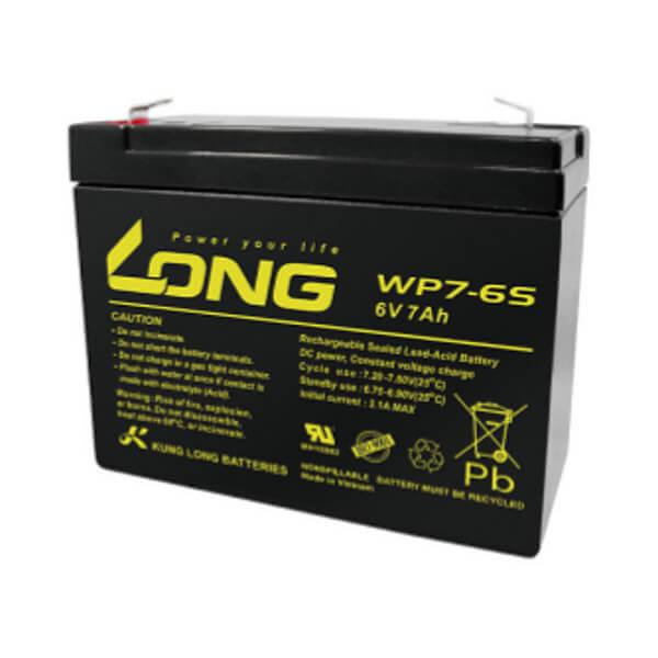 Kung Long WP7-6S 6V 7Ah Blei-Akku / AGM Batterie Faston 250 Anschluss