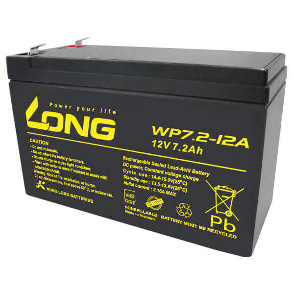Kung Long WP7.2-12A/F2 12V 7,2Ah Akku mit VdS-Zulassung